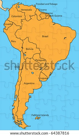Map Of America Jigsaw.Royalty Free Stock Illustration Of Jigsaw Map South America Stock