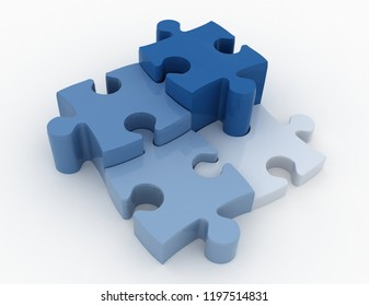 jigsaw puzzle. 3d busines illustration concept