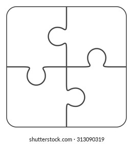 Jigsaw puzzle, blank simple template 2x2, four pieces