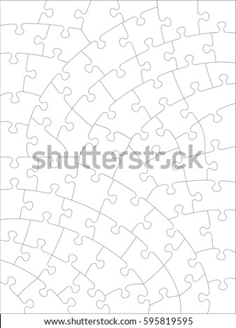 jigsaw puzzle blank template cutting guidelines stock illustration