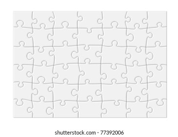 Jigsaw puzzle with blank white pieces and a modern feel, isolated on white background with clipping path around outside of the puzzle.