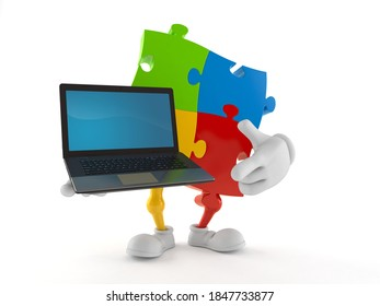 Jigsaw puzzle character holding laptop isolated on white background. 3d illustration