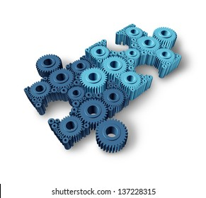Jigsaw puzzle connections business concept as a network partnership for communication between two groups of teams as three dimensional gears and cogs shaped as pieces from puzzles connected together.