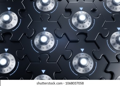 Jigsaw Puzzle As Cryptographic Blockchain. Combination locks inbuilt to pieces of hexagonal jigsaw puzzle and they are all interconnected of each other. 3D rendering graphics.