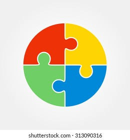 Jigsaw puzzle in the form of a colored circle. Four pieces