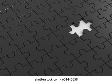 Jigsaw puzzle with missing piece. 3D illustrating