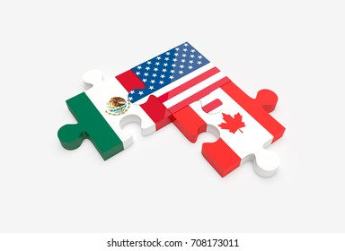 Jigsaw puzzle pieces with American, Canadian and Mexican flags. NAFTA trade agreement members concept. 3D Illustration.