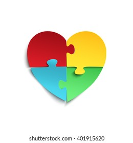 Jigsaw puzzle pieces in form of heart, isolated on white background. Autism symbol.