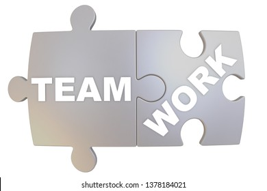 Jigsaw puzzle pieces labeled TeamWork. Two jigsaw puzzle pieces together labeled TEAMWORK. Isolated. 3D Illustration
