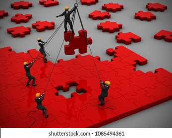 Jigsaw puzzle Project in Red as teamwork manage to build it as 3d rendering. A great jigsaw puzzle in red being built by a successful team