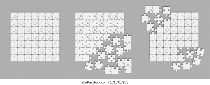 Jigsaw puzzle set. Blank mockup. Pieces template. 3d illustration.