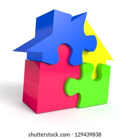 Jigsaw puzzle in the shape of a house on white background. Computer generated image with clipping path
