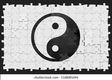 Jigsaw puzzles picture of Taijitu Yin-Yang symbol, inaccurate assembly, white contrast background, 3D rendered image