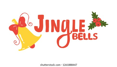 Jingle bells sign icon decorated with shiny golden bell and green leaves with red berries. raster illustration with Christmas symbol isolated on white