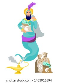 Jinn flies out of the lamp, in the hands of wealth, money, dollars. In minimalist style. Cartoon flat raster Illustration