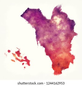 Jizan region watercolor map of Saudi Arabia in front of a white background