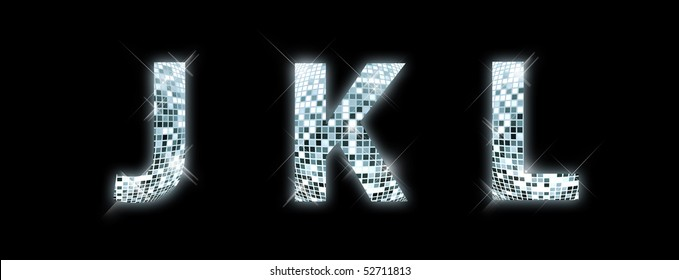 J,K,L - font made from a disco ball