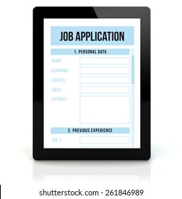 job application concept: render of a tablet pc with rjob application on the screen