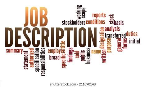 Job Description in word collage
