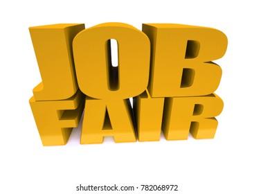 Job Fair word on white background illustration. 3D rendering