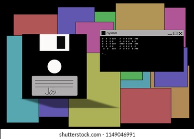 Job.We hire.  Text for job searchers in programming. System message in command line interpreter or cmd.exe, floppy disc, binary code, red background. Ascii text art.
