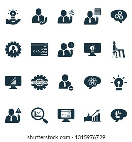 Job icons set with idea, team head, gear and other work plan elements. Isolated  illustration job icons.