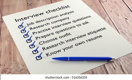 Job interview checklist on wooden table with a blue ball pen and tickmarks 3D illustration