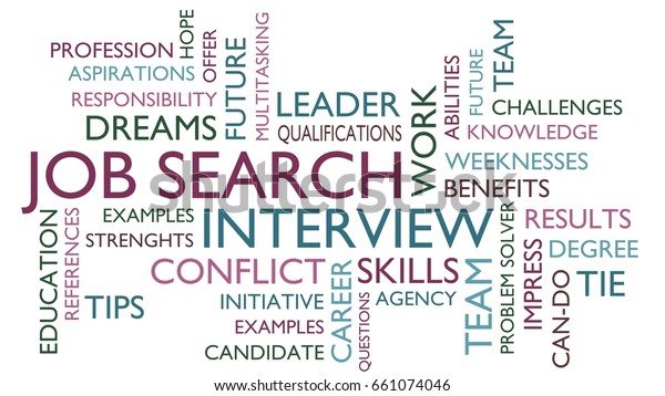 Job Search Interview Word Tag Cloud Stock Illustration 661074046