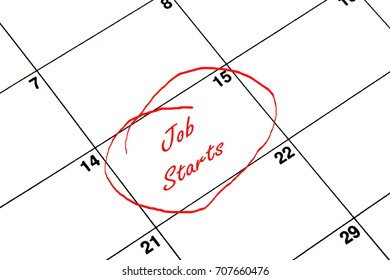 Job Starts Circled on A Calendar in Red