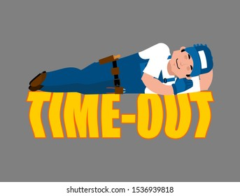 Job Time out. Plumber sleeping isolated. Break in working time. Fitter asleep.