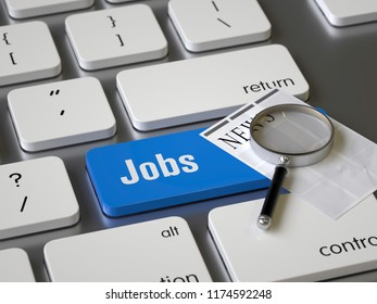 Jobs key on the keyboard, 3d rendering,conceptual image.