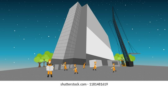 jobsites and fussy worker an illustration,construction and installation of a tall building.,Contractors