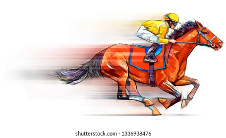 Jockey on racing horse. Champion. Hippodrome. Racetrack. Horse riding.Illustration. Derby. Speed. Blurred movement. Isolated on white background