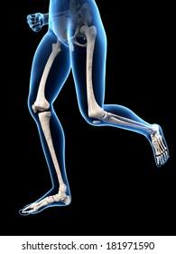 jogging woman with visible leg bones