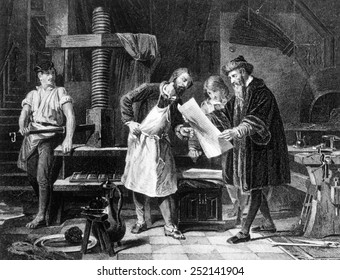 Johann Gutenberg (right) in engraving from 1881