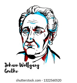 Johann Wolfgang von Goethe engraved portrait with ink contours. German writer and statesman.