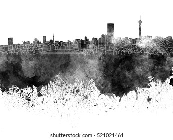 Johannesburg skyline in black watercolor on white background