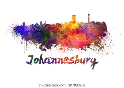 Johannesburg skyline in watercolor splatters with clipping path
