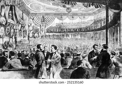 John A. Logan of Illinois nominates Ulysses S. Grant for president at the Republican national convention in Chicago, 1868