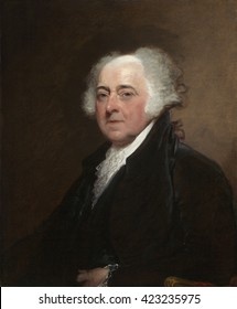 John Adams, by Gilbert Stuart, c. 1800-15, American painting, oil on canvas. Adams sat for this preliminary portrait in Philadelphia during his presidency. The more carefully finished painting was no