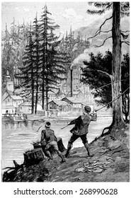 John and Alexander was engaged in fishing fun, vintage engraved illustration. Jules Verne Cesar Cascabel, 1890.