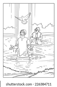 John baptized Jesus in the River Jordan and the Holy Spirit descends from the sky
