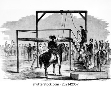 John Brown ascending the gallows at Harper's Ferry, Virginia on December 2nd, 1859, illustration from Leslie's Weekly