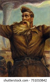 JOHN BROWN, by John Steuart Curry, 1939, American painting, oil on canvas. Curry depicted abolitionist Brown with a crazed expression and windblown hair, and an enslaved African American at his side.