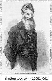 John Brown. Detail of front page of Frank Leslie's illustrated newspaper with picture of John Brown, woodcut based on photograph, 1859