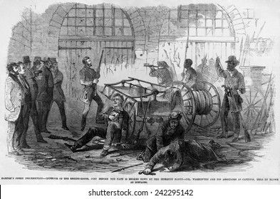 John Brown and others inside the engine house of the Harper's Ferry Armory just before the U.S. Marines ram through the door. October 18, 1859