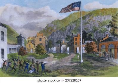 John Brown's Harper's Ferry insurrection on October 17 1859 Captain Albert's militia firing on Brown's insurgents from the railroad bridge.