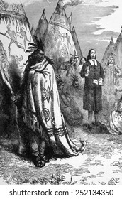 John Eliot (1604-1690) English Puritan missionary known as the Apostle to the Indians, preaching at a Native american camp