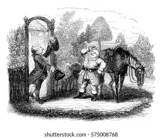 John Gilpin and his friend Calendar, vintage engraved illustration. Magasin Pittoresque 1842.