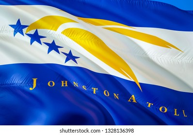 Johnston Atoll flag state. 3D Waving flag design. US state flags of Johnston Atoll and Oceania, 3D rendering. The national emblem of Johnston Atoll background wallpaper. 3D wallpaper,background